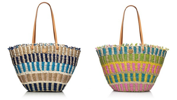 multi-coloured straw cute totes