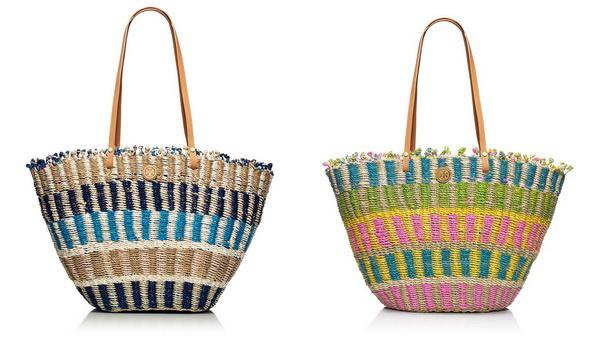 multi-coloured straw cute totes