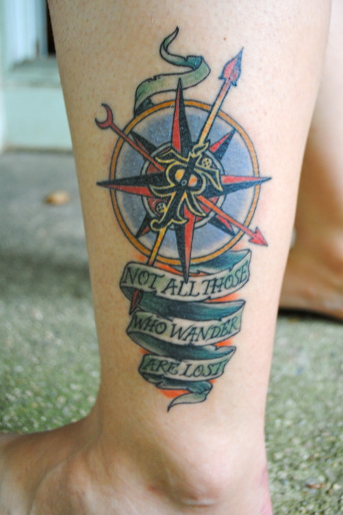 Leg Tattoos - Cool Compass Tattoos for Women and Men