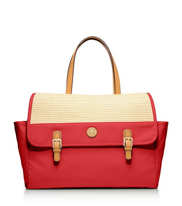 red tote with buckles