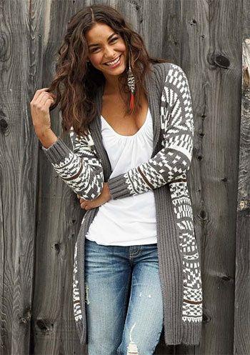Long Sleeve Geometric Sweater - Street Look