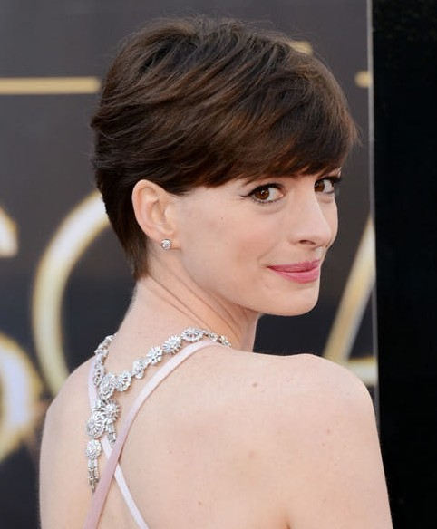 2014 Anne Hathaway's Short Hairstyles: Short and Brown with Huge Side-swept Fringe