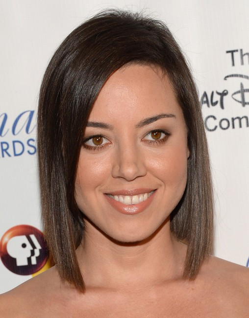 2014 Aubrey Plaza Medium Hairstyles: Blunt Long Bob