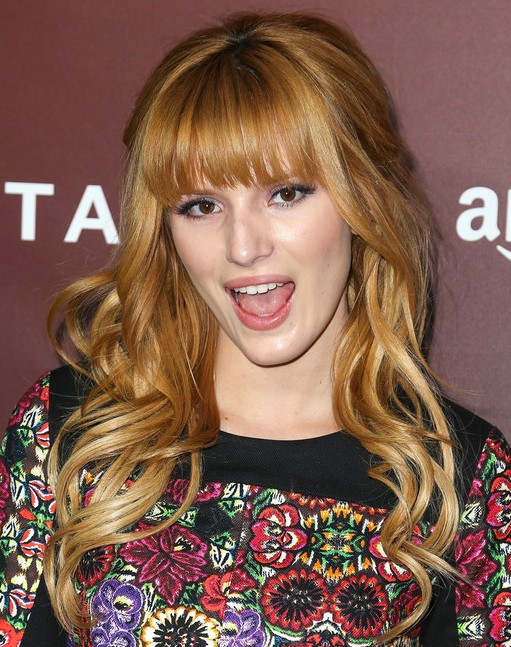 2014 Bella Thorne Long Hairstyles: Curled with Blunt Bangs