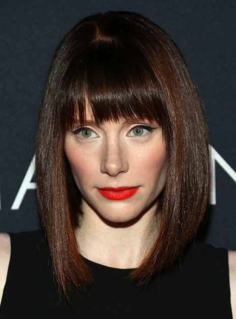 ... Howard Medium Hairstyles: Bob Haircut with Blunt Bangs /Getty Images