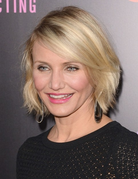 2014 Cameron Diaz Hairstyles: Straight Short Bob Hair Cuts