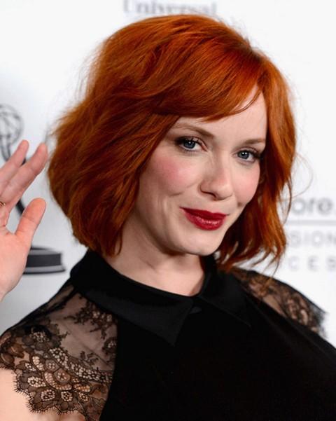 2014 Christina Hendricks' Short Hairstyles: Short Bouncy Bob for Red Hair
