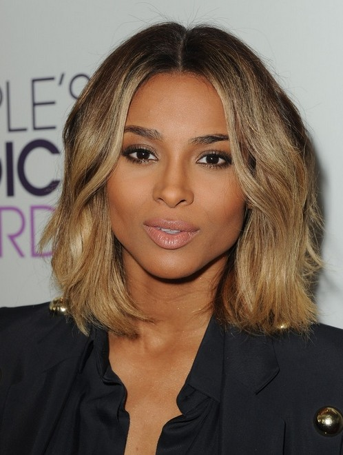 2014 Ciara Medium Hairstyles: Center part Haircut