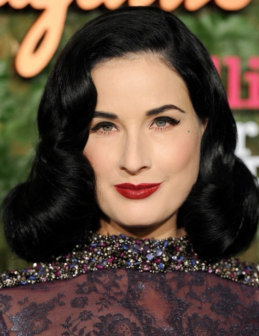 2014 Dita Von Teese Hairstyles: Retro Long Curly Hair