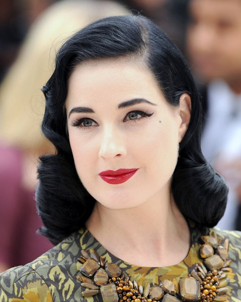 2014 Dita Von Teese Medium Hairstyles: Retro Curls