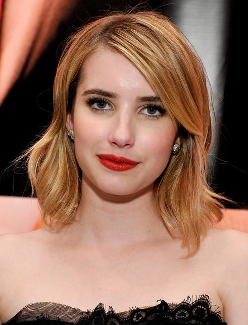 2014 Emma Roberts Medium Hairstyles: Straight Hair with Side Bangs