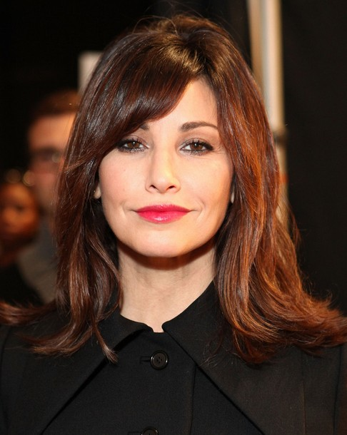 2014 Gina Gershon Medium Hairstyles: Straight Hairstyle with Side Swept Bangs