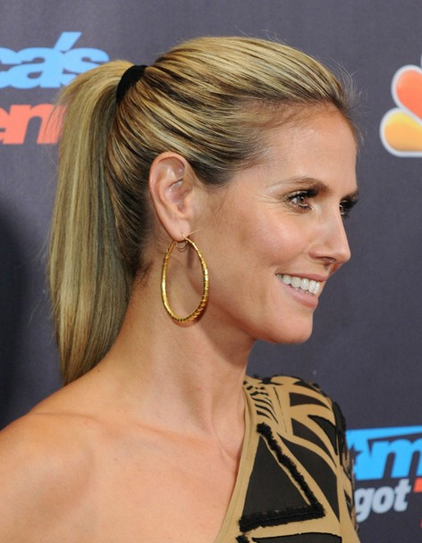 2014 Heidi Klum Hairstyles: High Ponytail Hairstyle for Long Straight Hair