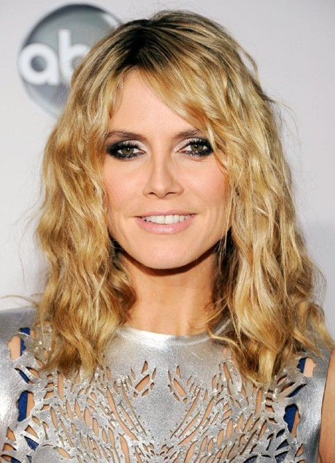 2014 Heidi Klum Long Hairstyles: Textured Layered Hairstyle