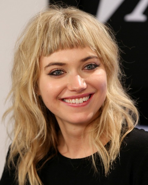 2014 Imogen Poots Medium Hairstyles: Messy Hair with Bangs