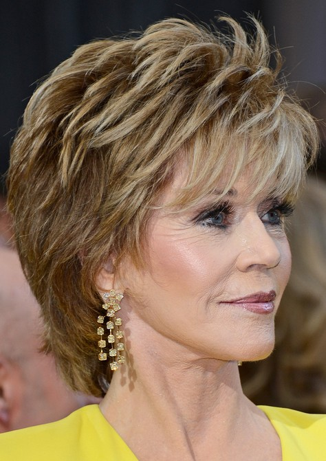 Jane Fonda's Short Hairstyles: Shaggy Pixie Cut with Bangs /Source ...