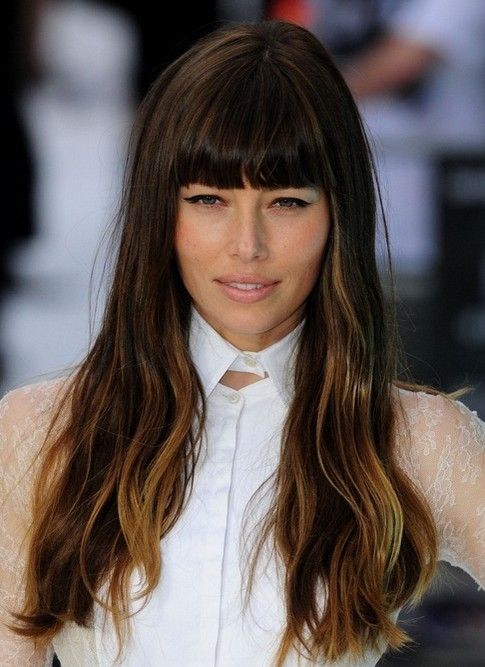 2014 Jessica Biel Hairstyles: Long Hairstyle with Blunt Bangs