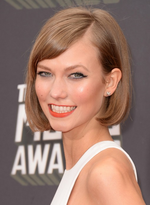 2014 Karlie Kloss Short Hair Cuts Straight Bob Hair Styles for Fine Hai