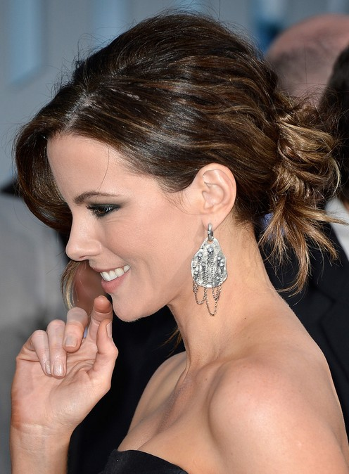 2014 Kate Beckinsale Hairstyles: Messy Bun Updos