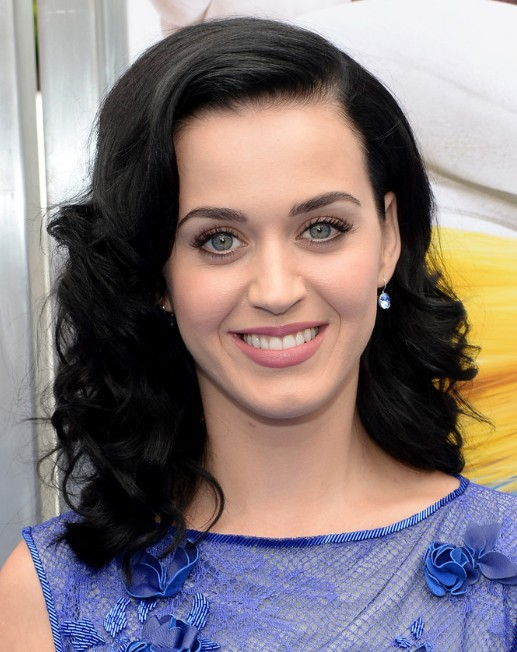 2014 Katy Perry Medium Hairstyles: Black Cury Hair
