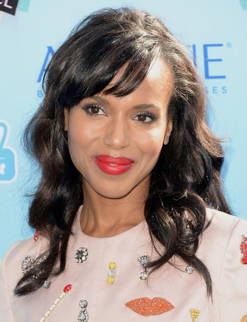 2014 Kerry Washington Hairstyles: Long Hair with Short Bangs