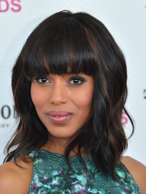 2014 Kerry Washington Medium Haircut: Blunt Bangs