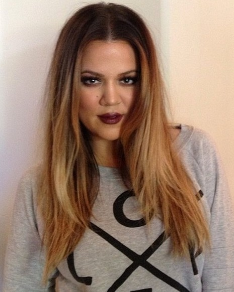 2014 Khloe Kardashian Hairstyles: Center Part Hairstyle for Long Hair