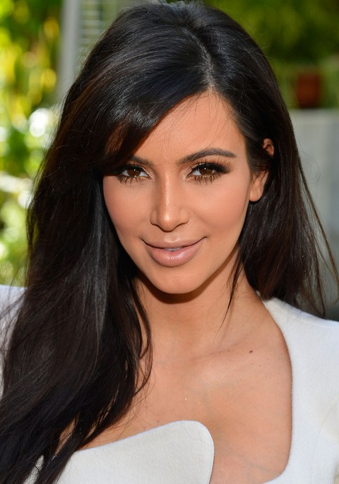 Kim Kardashian Hair styles: 2014 Dark Long Straight Haircut with Bangs