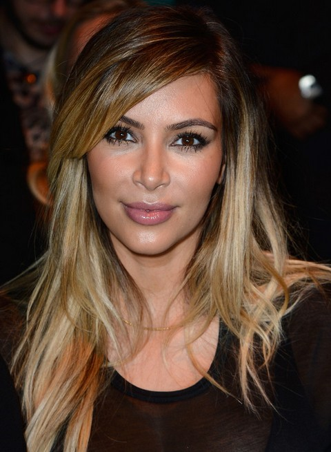 Kim Kardashian Hairstyles: 2014 Ombre Layered Haircut