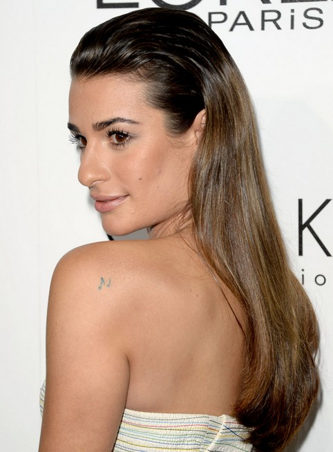 2014 Lea Michele Hairstyles: Ombre Straight Hair