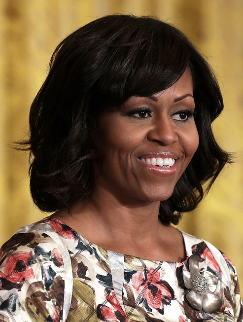 2014 Michelle Obama Medium Hairstyles: Big Wavy Hairstyle for Black Women