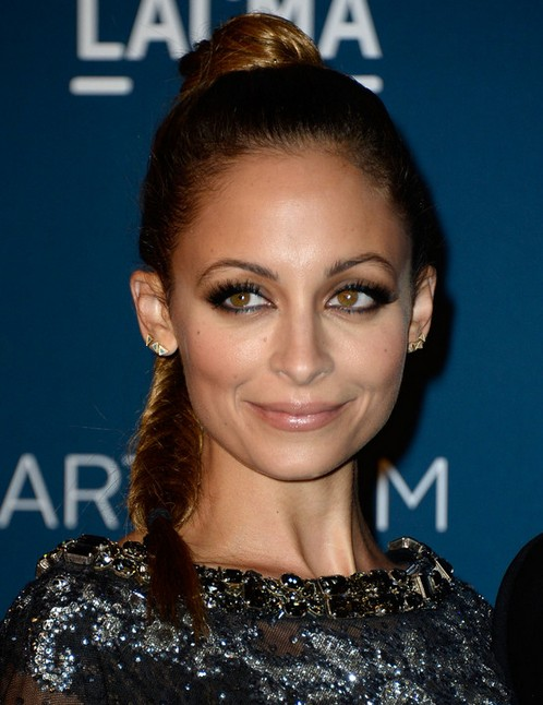 2014 Nicole Richie Hairstyles: High Braided Ponytail