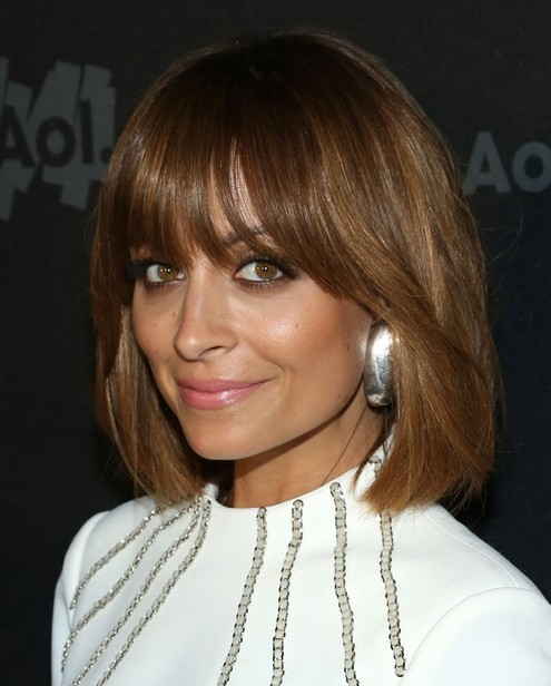 2014 Nicole Richie Medium Haircuts: Straight Bob with Bangs