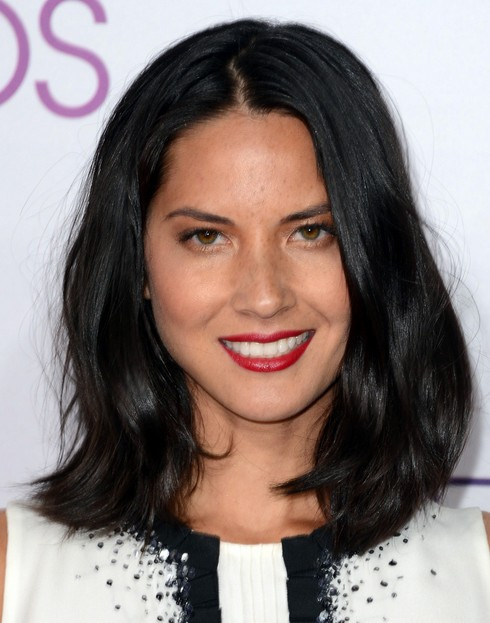2014 Olivia Munn Hairstyles: Black Straight Hair