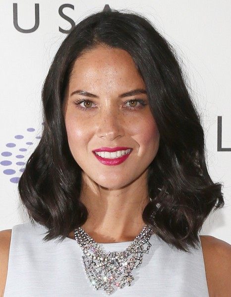 2014 Olivia Munn Medium Hairstyles: Curly Hair