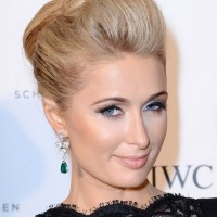 2014 Paris Hilton Medium Hairstyles: Bobby Pinned Updo Hairstyle