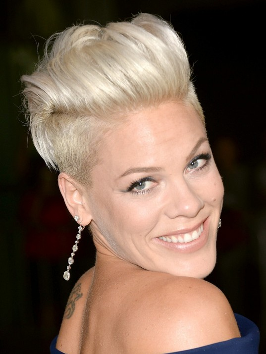 2014 Pink's Short Hairstyles: Funky Platinum Mohawk