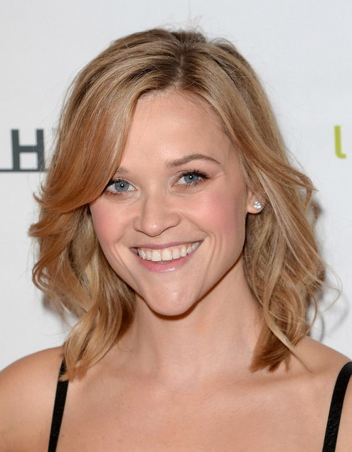 2014 Reese Witherspoon Medium Hairstyles: Side Swept Long Fringe