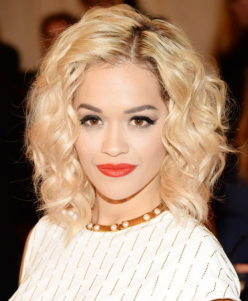 2014 Rita Ora Medium Hairstyles: Soft Curls