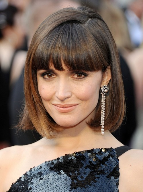 2014 Rose Byrne's Short Hairstyles: Blunt Bob Haircut with Blunt Bangs