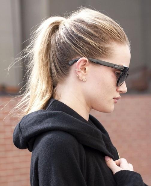 2014 Rosie Huntington-Whiteley Hairstyles: High Ponytail