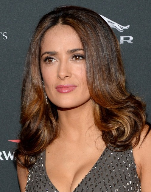 2014 Salma Hayek Hairstyles: Shoulder-length Hair | Pretty Designs