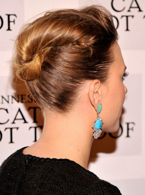 2014 Scarlett Johansson Medium Hairstyles: French Twist Updo Hairstyle