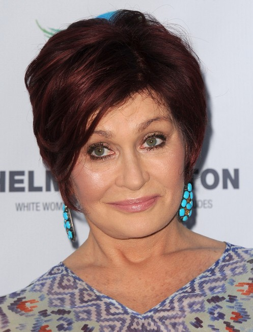 2014 Sharon Osbourne's Short Hairstyles: Red Short Hair with Side Bangs