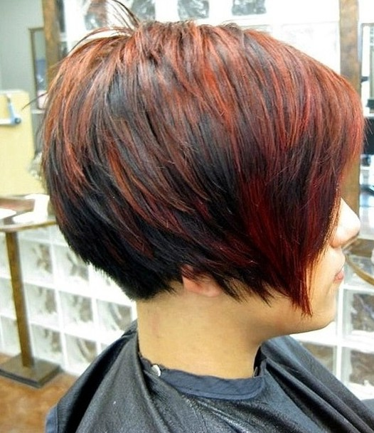 2014 Short Red Black Haircut for Women