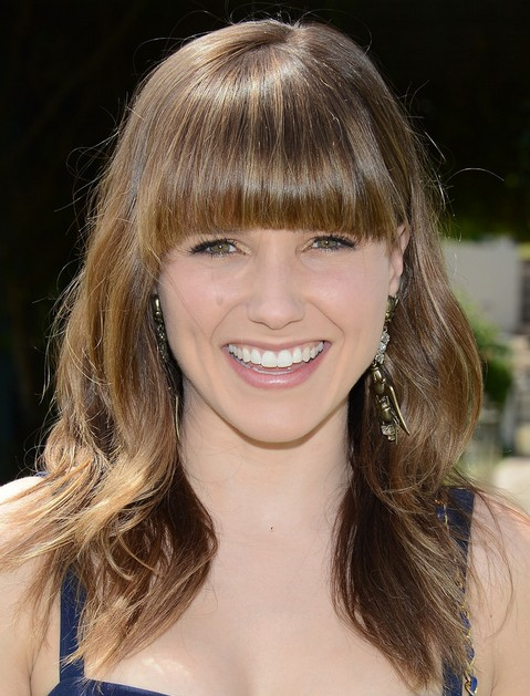 2014 Sophia Bush Medium Hairstyles: Brown Hair Style with Blunt Bangs