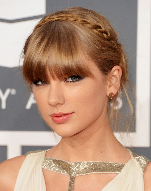 2014 taylor swift hairstyles braided updo with bangs pretty designs