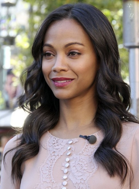 2014 Zoe Saldana Hairstyles: Easy Long Wavy Hairstyle