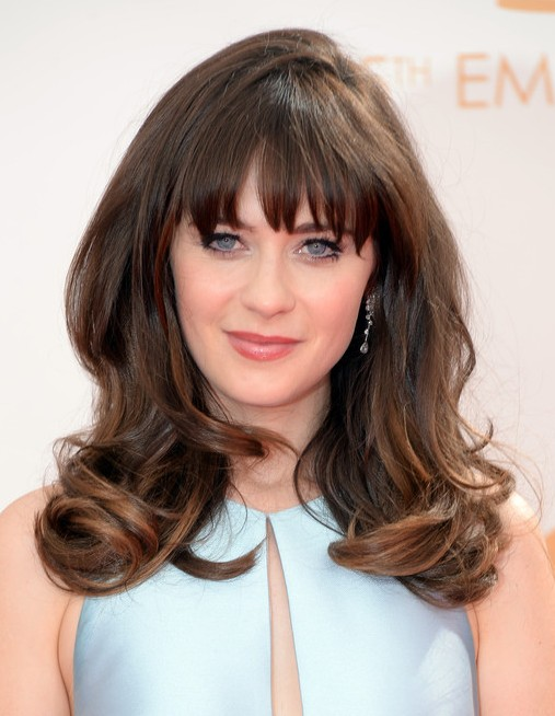 2014 zooey deschanel hairstyles long hairstyle with bangs