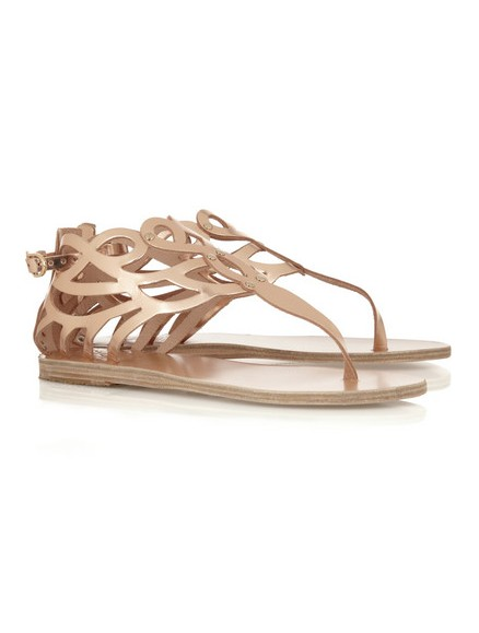 ANCIENT CREEK Medea cutout mirrored-leather sandals